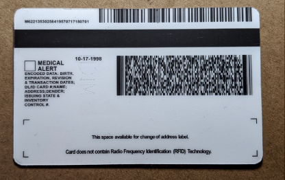 michigan drivers license back pdf417 scan