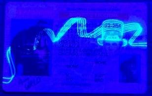 Illinois drivers license front blacklight uv