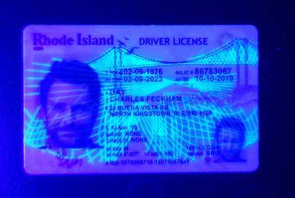 rhode island drivers license front blacklight UV